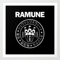 ramones Art Prints featuring Ramune Punk Rock Print by Jonathan Lefrançois