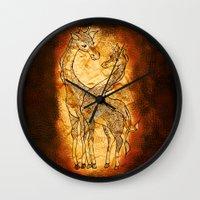 henna Wall Clocks featuring Henna Giraffe by Kari D Designs
