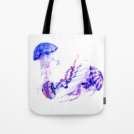 Jellyfish, sea world marine blue aquatic shower purple blue design Tote Bag