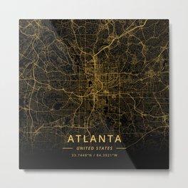 Atlanta, United States - Gold Metal Print