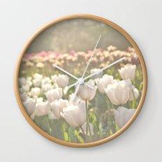 Tulips sunbathed Wall Clock