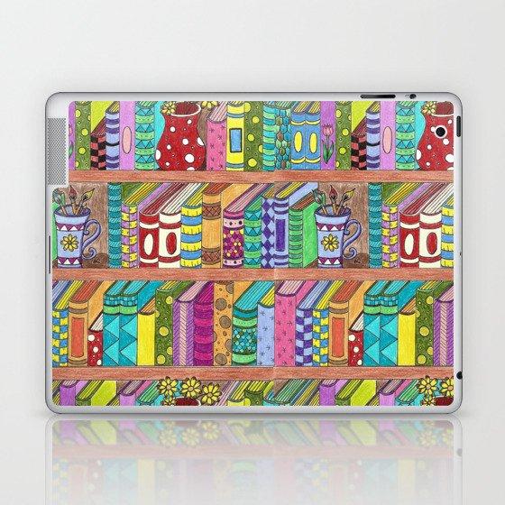 Colorful books on shelves Laptop & iPad Skin
