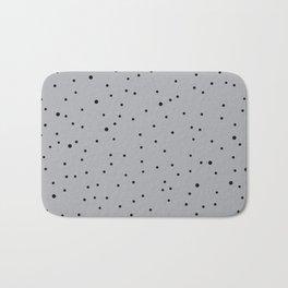 Black polka dots on grey Bath Mat