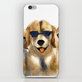 Yellow dogs  in funny glasses iPhone Skin