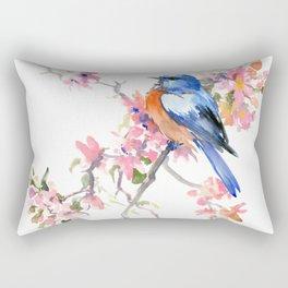 Bluebird and Cherry Blossom Rectangular Pillow