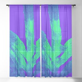 Blue Ultraviolet Green Earth Day Fern Sheer Curtain