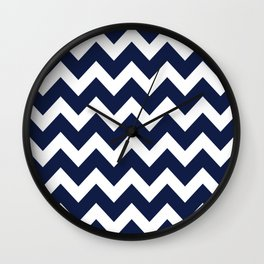 Indigo Navy Blue Chevron Wall Clock