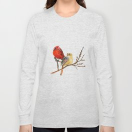 The Perfect Pair - Male and Female Cardinal by Teresa Thompson Long Sleeve T-shirt