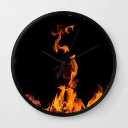 Fire flames on black Wall Clock