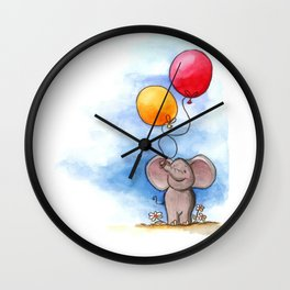 Baby elephant with balloons Wall Clock