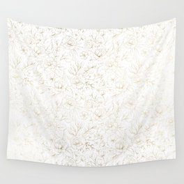 Elegant simple modern faux gold white floral Wall Tapestry