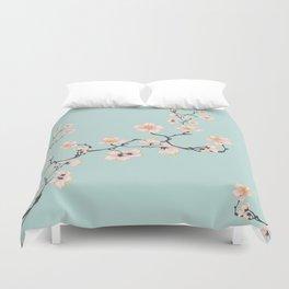 Sakura Cherry Blossoms x Mint Green Duvet Cover