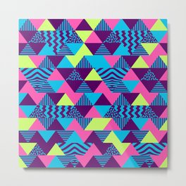 Vintage Retro 1980s 80s Nights New Wave Triangular Print Metal Print