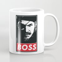metal gear Mugs featuring Big Boss - Metal Gear Solid by TxzDesign
