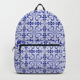 Gorgeous blue tiles with floral pattern. Vintage, traditional Portuguese ceramic tiles. Backpack