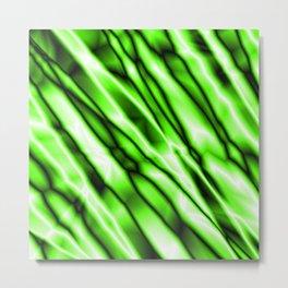 Shiny metal crooked mirror with green reflective diagonal stripes. Metal Print