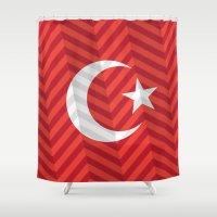 turkey Shower Curtains featuring Turkey Flag by m. arief (mochawalk)