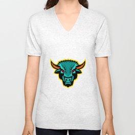 American Bison Head Sports Mascot Unisex V-Neck