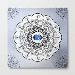 Third Eye Chakra Mandala Metal Print