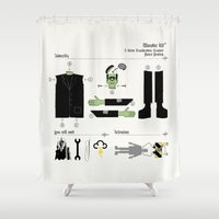 kit king Shower Curtains featuring Monster Kit by Graham Dobson