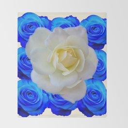 DECORATIVE WHITE & BLUE ROSES GARDEN ART Throw Blanket