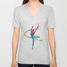 Rhythmic Gymnastics Print Sports Print Watercolor Print Unisex V-Neck