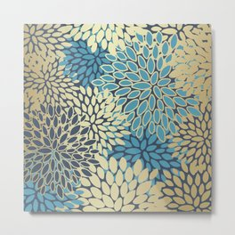 Christmas, Flower Garden, Gold and Blue, Floral Prints Metal Print