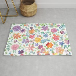 Colorful Whimsical Watercolor Flowers Pattern Rug