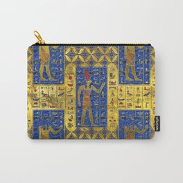 Egyptian  Gold  symbols on Lapis Lazuli Carry-All Pouch