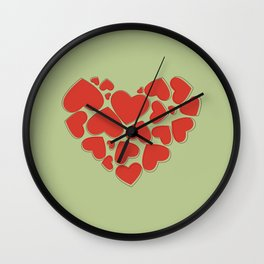 Heart Made of Hearts - Red Wall Clock