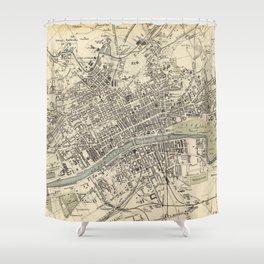 Vintage Map of Glasgow Scotland (1872) Shower Curtain
