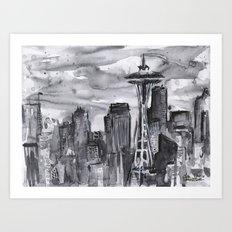 Seattle Skyline Watercolor Space Needle Washington PNW Art Print