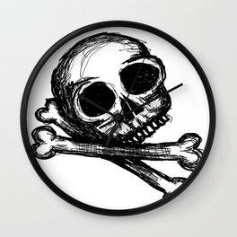 sketchy skull and crossbones Wall Clock