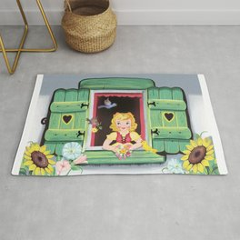 Even The Birds Bring Her Pretty Flowers Rug