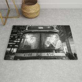 Streetcar 504 Toronto city - Black and white urban photography Rug