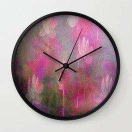 Painterly Pink Dancing Flower Garden Wall Clock
