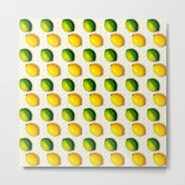 Vintage Lemon and Lime Pattern Metal Print