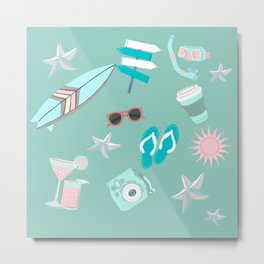 cute girly pink teal turquoise blue starfish sufer summer beach life Metal Print
