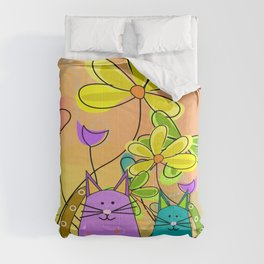 Whimsical Cats and Flowers II Comforters