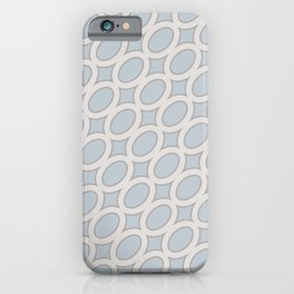 Contemporary Modern Geometric Oval Minimal Pattern Muted Pastel Blue Gray iPhone Case