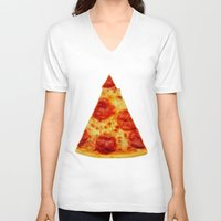 pizza V-neck T-shirts featuring PIZZA by @thecultureofme