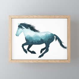 Wild Horse Mustang Equine Double Exposure Wildlife Animal Framed Mini Art Print