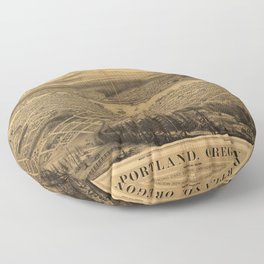 Aerial View of Portland, Oregon (1879) Floor Pillow
