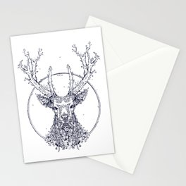 Flowers and Stag [Monochrome] Stationery Cards