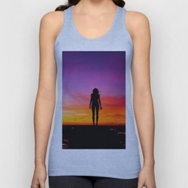 silhouette photography of a woman Unisex Tank Top