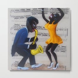 African American 'Apollo Theater Sheet Music Portrait No. 2' Sax & Dancer by Miguel Covarrubias Metal Print
