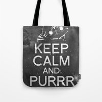 exo Tote Bags featuring Exo Cat : Keep Calm  And Purrr Meow! by The Gang of Fur