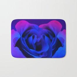Blue Neon Rose Bath Mat