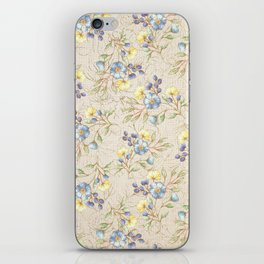 Vintage ivory linen blue yellow gold floral pattern iPhone Skin