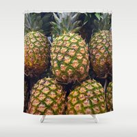 pineapples Shower Curtains featuring Pineapples by UMe Images